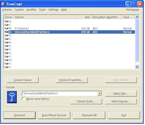TrueCrypt main screen