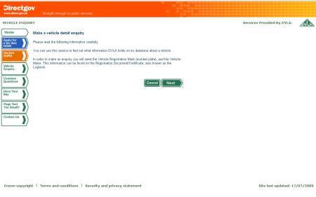 UK DVLA Vehicle Enquiry