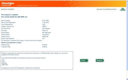 UK DVLA Vehicle Enquiry Result