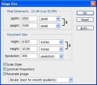 Photoshop Image Size Options