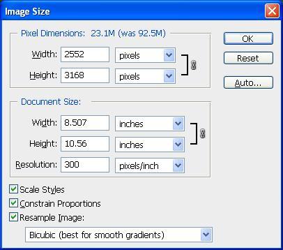 Photoshop Image Size Options