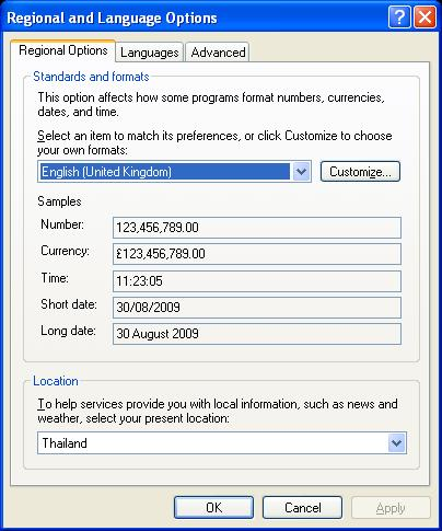 Windows XP Regional & Language Options