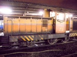 A SRT diesel shunter moves a train onto its platform ready for a late night departure.